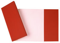 Charles B. Hinman (American, b. 1932) Red Lean-In, 1968 Acrylic on shaped canvas, in two parts 37