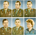 Autographs:Celebrities, Soviet Vostok and Voskhod Missions: Individual Signed Color Photosof Nine of the First Eleven Cosmonauts in Space, 1961-1965....
