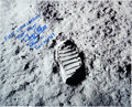 "Autographs:Celebrities, Buzz Aldrin Signed Large Apollo 11 ""Moon Boot Print"" Lunar Surface Photo...."