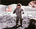 Autographs:Celebrities, Gene Cernan Signed Large Apollo 17 Lunar Surface Color Photo. ...