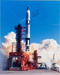 Autographs:Celebrities, Gemini 5 Large Color Launch Photo Signed by Buzz Aldrin and GordonCooper. ...