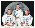 Autographs:Celebrities, Buzz Aldrin Signed Apollo 11 White Spacesuit Crew Color Photo....