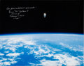 Autographs:Celebrities, Bruce McCandless Signed Large STS-41-B Untethered Spacewalk ColorPhoto. ...