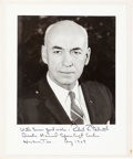 Autographs:Celebrities, Robert Gilruth Signed Photo, Dated 1969. ...