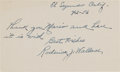 Baseball Collectibles:Others, 1956 Roderick Wallace Signed Index Card. ...
