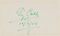 Baseball Collectibles:Others, 1959 Ty Cobb Signed Index Card. ...