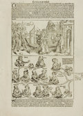 Books:Prints & Leaves, [Nuremberg Chronicles]. Hartman Schedel. Double-Sided Leaf withWoodcut Illustrations Depicting the Destruction of Sodom and G...
