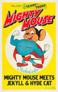 "Movie Posters:Animation, Mighty Mouse (20th Century Fox, 1944). Stock One Sheet (27"" X 41"")""Mighty Mouse Meets Jekyll & Hyde Cat."". ..."