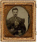 Photography:Tintypes, [Early Photography]. Sixth Plate Tintype of Unidentified Man inMilitary Regalia. ...