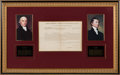 Miscellaneous Collectibles:General, 1812 Presidents James Madison & James Monroe Signed DocumentDisplay. ...