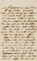 Autographs:Military Figures, [Civil War]. W. S. Hills Autograph Letter Signed. Dated September17, 1862. . ...