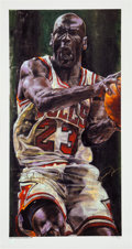 Basketball Collectibles:Others, 1998 Michael Jordan Signed Stephen Holland Canvas Print Artist's Proof 20/23. ...