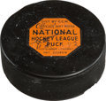 """Hockey Collectibles:Equipment, 1960 Maurice """"Rocket"""" Richard Final Career Goal Puck, Scored in Stanley Cup Finals...."""
