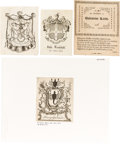 Books:Americana & American History, [Bookplates]. [Various artists]. Collection of Thirty Seven EarlyAmerican Bookplates. [American, 1750-1825]. Bookplates ton...