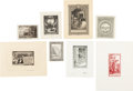 Books:Americana & American History, [Bookplates]. [Various artists]. Collection of One Hundred SixtySix American Bookplates of Varied Topics. [American, n.d.]. ...(Total: 2 Items)