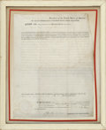 """Autographs:U.S. Presidents, John Quincy Adams Document Signed as President """"J. Q.Adams"""". One page, 13"""" x 17"""", partly printed, on vellum,Washington..."""
