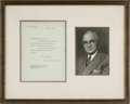 "Autographs:U.S. Presidents, Harry Truman Typed Letter Signed as President. One page, 6.5"" x 8.5"", White House letterhead, Washington, July 22, 1947, to ..."