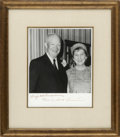 """Autographs:U.S. Presidents, Dwight and Mamie Doud Eisenhower Photo Signed. A B&W photo, 7.5"""" x 9.5"""", signed by both in the wide lower margin. Dwight Eis..."""