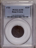 1723 1/2P Rosa Americana Halfpenny, Crown AU55 PCGS. Breen-140. Crowned Rose. No stop after 3. Deep mahogany-brown surfa...