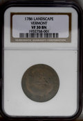 Colonials: , 1786 COPPER Vermont Copper, VERMONTENSIUM VF30 NGC. RR-7, Bressett5-E, R.3. A tree nearly touches the letter N in VERMONTE...