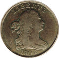 Half Cents: , 1802/0 1/2 C Reverse of 1802 VF25 PCGS. C-2, B-2, R.3. The 2 in thedate is within a large 0 underdigit, and the right wrea...