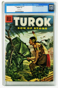 Silver Age (1956-1969):Adventure, Turok #3 (Dell, 1956) CGC VF/NM 9.0 Off-white pages. Overstreet 2005 VF/NM 9.0 value = $242; NM- 9.2 value = $325. CGC censu...