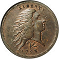 Large Cents: , 1793 1C Wreath Cent--Lettered Edge--AU50 NGC. S-11c, R.3. Heavyclash marks are visible in the obverse fields, including mu...