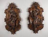 "A Pair of Large Wooden ""Black Forest"" Style Carved Plaques in the Form of Pheasants and Other Game  Unknown ma..."