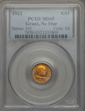 Commemorative Gold, 1922 G$1 Grant Gold Dollar, No Star, MS65 PCGS....