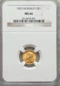 Commemorative Gold, 1903 G$1 Louisiana Purchase, McKinley, MS66 NGC....