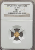 California Fractional Gold: , 1872/1 25C Indian Octagonal 25 Cents, BG-790, R.3, MS64 NGC. NGCCensus: (3/3). PCGS Population (46/37). ...
