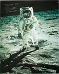 """Autographs:Celebrities, Buzz Aldrin Signed Large Apollo 11 Lunar Surface """"Visor"""" ColorPhoto Produced by Hasselblad. ..."""