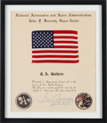 Explorers:Space Exploration, Apollo 17 Flown American Flag on Original Presentation CertificateSigned by Mission Commander Gene Cernan, in Framed Display....