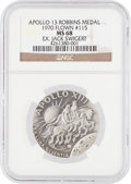 Explorers:Space Exploration, Apollo 13 Flown MS68 NGC Silver Robbins Medallion, Serial Number151, Originally from the Personal Collection of Mission Comma...