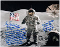Autographs:Celebrities, Gene Cernan Signed Large Apollo 17 Lunar Surface Color Photo with Extensive Handwritten Quote, includes Photographic Provenanc...