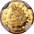 California Fractional Gold , 1874 50C Indian Round 50 Cents, BG-1053, High R.5, MS67 DeepProoflike NGC....