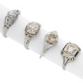 Estate Jewelry:Rings, Antique Diamond, White Gold Rings. ... (Total: 4 Items)