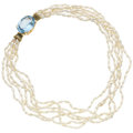 Estate Jewelry:Necklaces, Blue Topaz, Freshwater Cultured Pearl, Gold Necklace. ...