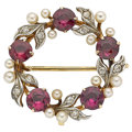 Estate Jewelry:Brooches - Pins, Garnet, Diamond, Cultured Pearl, Gold Brooch. ...