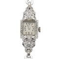 Estate Jewelry:Watches, Lady's Hamilton 14k Gold & Diamond Wristwatch. ...