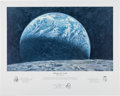 "Explorers:Space Exploration, Alan Bean Signed Limited Edition ""Kissing the Earth"" Print, alsoSigned by Fellow Apollo 12 Crewmembers Charles Conrad and Ric..."