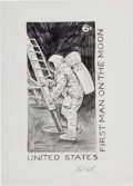 "Explorers:Space Exploration, Paul Calle Signed Original Sketch for the ""First Man on the Moon"" 6¢ Stamp. ..."