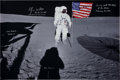 Autographs:Celebrities, Edgar Mitchell Signed Large Apollo 14 Lunar Surface Color Photowith Flag. ...