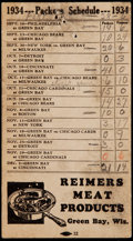 Football Collectibles:Others, 1934 Green Bay Packers Schedule....