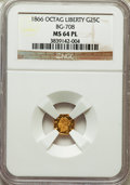 California Fractional Gold: , 1866 25C Liberty Octagonal 25 Cents, BG-708, High R.4, MS64Prooflike NGC. NGC Census: (2/2). ...