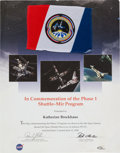 Explorers:Space Exploration, Space Shuttle Discovery (STS-91) Flown Phase One Shuttle-MirFlag on Presentation Certificate. ...
