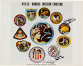 Autographs:Celebrities, Apollo Manned Mission Emblems Color Photo Signed by Fred Haise, AlWorden, and Ken Mattingly. ...