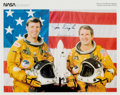 Autographs:Celebrities, Space Shuttle Columbia (STS-2) Crew-Signed Spacesuit ColorPhoto....