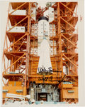 """Autographs:Celebrities, Apollo 7 NASA """"Red Number"""" Color Photo Signed by Wally Schirra andWalt Cunningham...."""