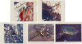 """Autographs:Celebrities, Charles Conrad Signed Original NASA """"Red Number"""" Color Photos(Five) from the Skylab I (SL-2) Mission.... (Total: 5 Items)"""